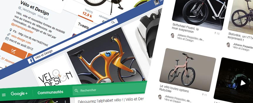 Velo et Design sur les reseaux sociaux Facebook et Twitter