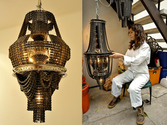 Chandeliers upcycling en chaine de velo