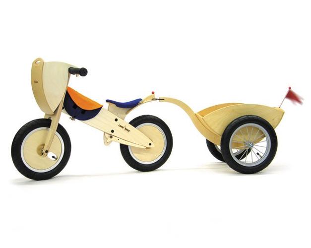 Draisienne enfant design et remorque en bois