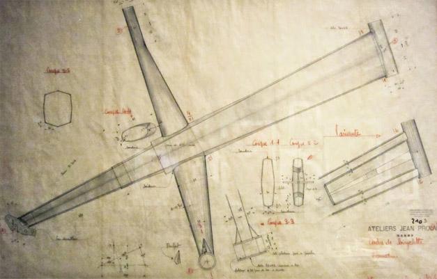 Plan du cadre de velo architecte Jean Prouve