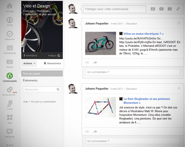 Velo design sur Google Plus