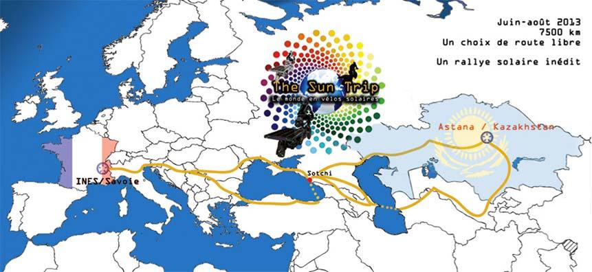 Parcours du Sun Trip 2013, voyage a velo solaire