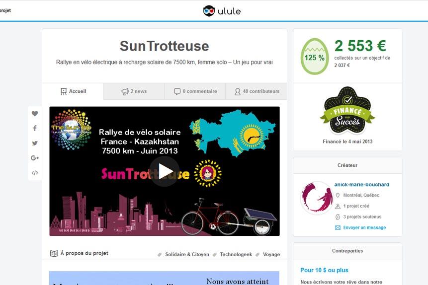 Financement participatif de SunTrotteuse par Ulule