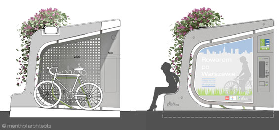 Green bicycle parking pod