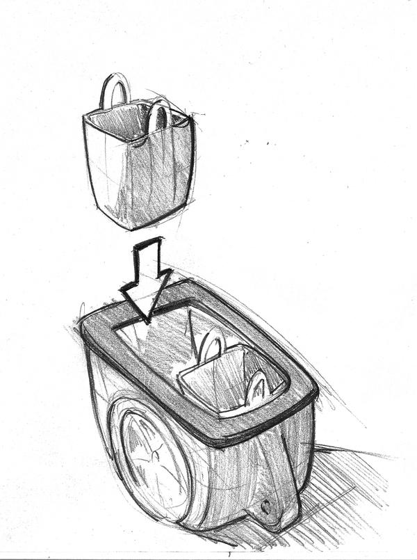 Croquis d'un concept de remorque pour velo