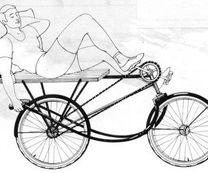 Jacques Carelman et sa bicyclette de repos