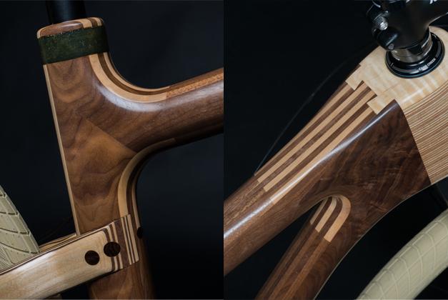Assemblage d'une sculpture de velo en bois