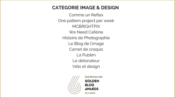 Velo et Design shorlist des Golden Blog Awards 2015