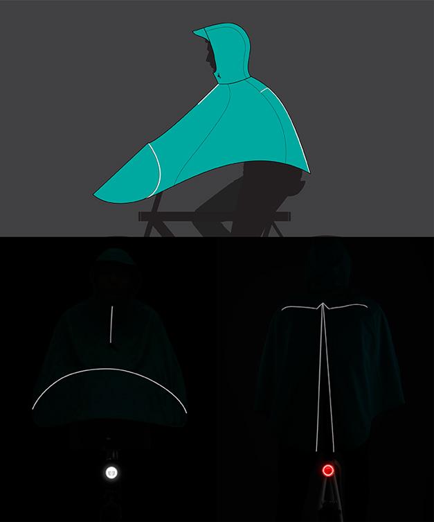 Cape de pluie pour velo reflechissante