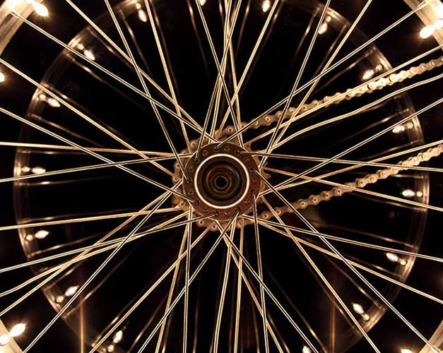 Wheelight, upcycled wheel lamp