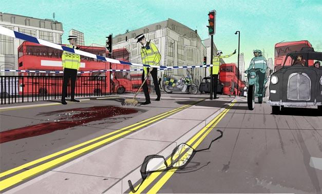 Pieton ou cycliste ecrase en ville