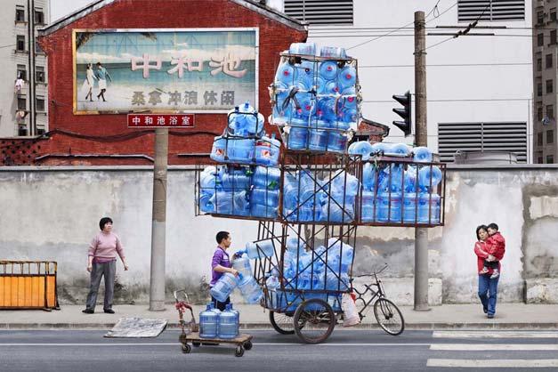 Transport de marchandises a velo en Chine