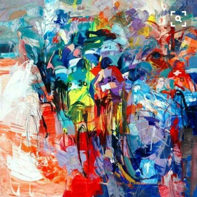 Peinture de course cycliste