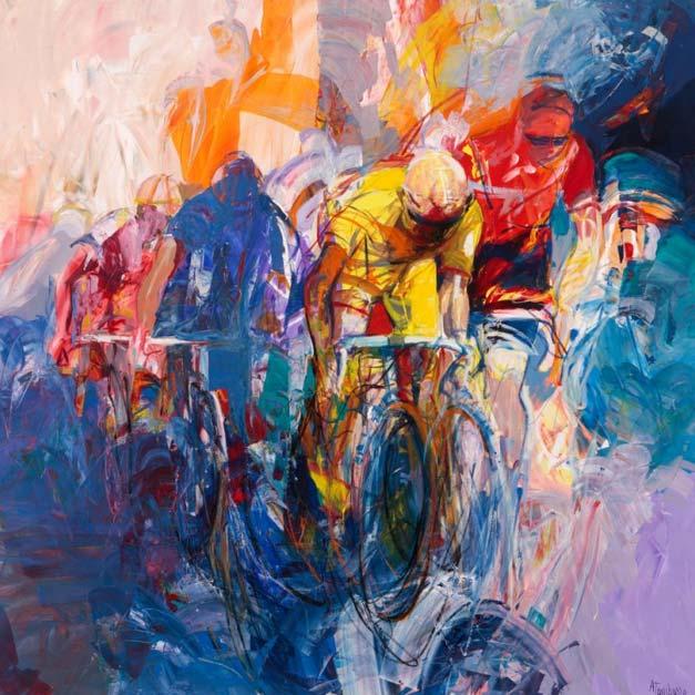 Peinture de peloton cycliste