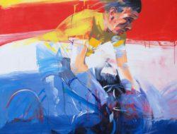Portrait de cycliste en peinture par Antonio Tamburro